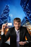 Businessman against urban city view Stock Image