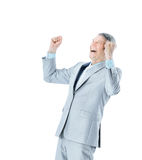 Businessman in age, shouts of joy Stock Photography