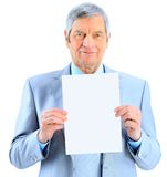 businessman at the age of't holding Stock Photography