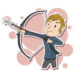 Businessman aiming bow. Cartoon Businessman aiming bow and arrow to target Royalty Free Stock Photography