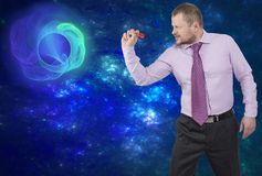 Businessman aiming by dart on abstract background Stock Photography