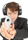 Businessman aiming a gun, on  white background Royalty Free Stock Images
