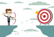 Businessman aiming target with bow and arrow. Successful businessman aiming target with bow and arrow Royalty Free Stock Images