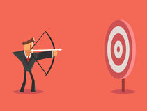 Businessman aiming target. Business concept. Vector illustration Royalty Free Stock Images