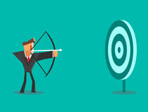 Businessman aiming target. Business concept. Vector illustration Royalty Free Stock Photo