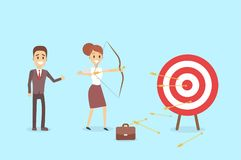 Businessman aiming in target. Businessman aiming in target and shooting with arrow Royalty Free Stock Image