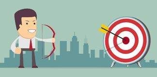 Businessman aiming target. Concept business vector illustration Royalty Free Stock Images