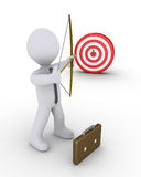 Businessman aiming at a target. 3d businessman as an archer is aiming at a target Royalty Free Stock Image