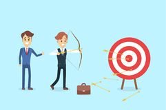Businessman aiming in target. Businessman aiming in target and shooting with arrow Stock Image
