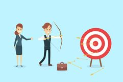Businessman aiming in target. Businessman aiming in target and shooting with arrow Stock Photos