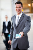 Businessman air ticket Royalty Free Stock Photo