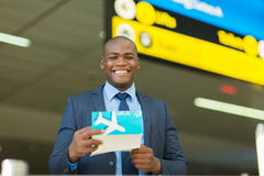 Businessman air ticket Stock Images
