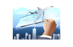 Businessman with air tickets royalty free stock images