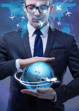 The businessman in air travel concept Stock Images