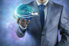 The businessman in air travel concept Royalty Free Stock Image