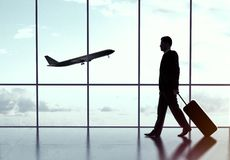 Businessman in airport Stock Photography