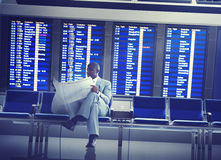 Businessman Airport Business Travel Flight Waiting Concept stock photo