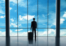 Businessman in airport Royalty Free Stock Photos