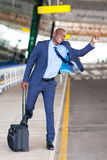 Businessman airport taxi royalty free stock photography