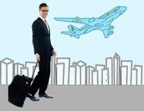 Businessman at the airport terminal Stock Image