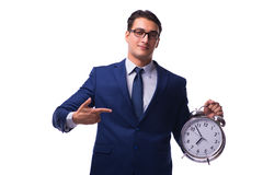 The businessman with alarm clock isolated on white Royalty Free Stock Images