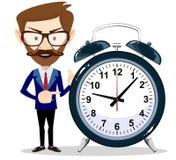 Businessman with alarm clocks, symbolizing time management. Royalty Free Stock Photos
