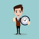 Businessman with alarm clocks, thumbs up, Stock Photography