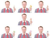 Businessman with all euro banknotes Stock Photo