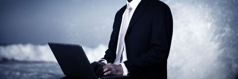 Businessman Alone Beach Working Laptop Computer Concept Stock Photos