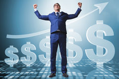 The businessman in american dollar concept Stock Image