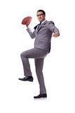 The businessman with american football isolated on white Stock Images