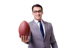 The businessman with american football isolated on white Royalty Free Stock Image