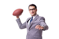 The businessman with american football isolated on white Royalty Free Stock Photos