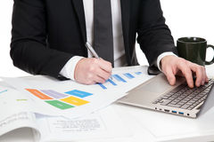 Businessman analysing data Stock Image
