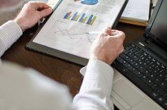 Businessman analysing economic graphs Stock Images