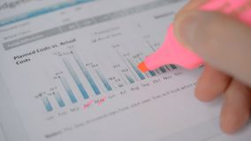 Businessman analysing statistics sales company