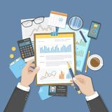 Businessman analyzes documents on clipboard. Auditing, accounting, analysis, analytics. Hands, calculator calendar folder money. Graphics on the table. Vector Stock Images