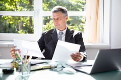 Businessman Analyzing Document. Photo Of Mature Businessman Analyzing Document In Office stock photography