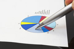 Businessman is analyzing financial report on pie chart.  Royalty Free Stock Photo