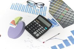 Businessman analyzing investment charts with calculator and lapt Royalty Free Stock Photography