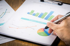 Businessman analyzing profit investment charts .vignetting style Royalty Free Stock Images