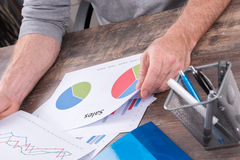 Businessman analyzing sales charts Royalty Free Stock Images