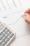 Businessman Analyzint Profit Graph Royalty Free Stock Images