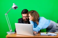 Businessman And Assistant Problem. Secretary With Boss At Workplace. Business Couple At Computer. Love Affair At Work Stock Image