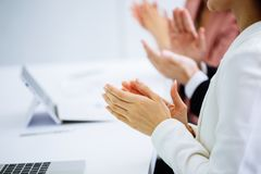 Free Businessman And Business Women Clap Their Hands To Congratulate Stock Photography - 128517402