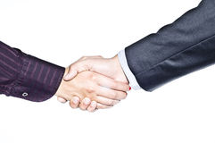 Businessman And Businesswoman Handshake Isolated Stock Images