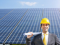 Free Businessman And Solar Panels Royalty Free Stock Photo - 14407265