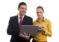 Businessman andd businesswoman. With laptop Royalty Free Stock Photos