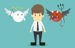 Businessman with angel and devil on his shoulders.Cartoon of bus Royalty Free Stock Photo