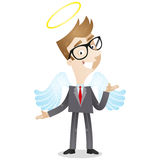 Businessman with angels wings and halo. Vector illustration of a cartoon businessman with angels wings and halo stock illustration